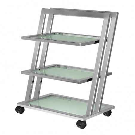 Aesthetic table with a modern design, perfect for cosmetic devices or as an assistant. Made of metal, glass shelves.