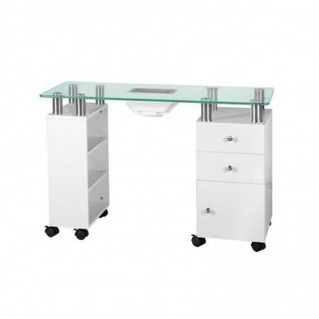 GLASS DESK WITH ABSORBER 013B WHITE